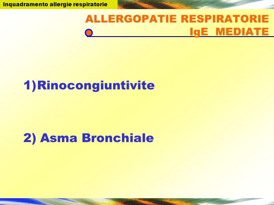 ALLERGOPATIE RESPIRATORIE IgE MEDIATE 1)Rinocongiuntivite 2) Asma Bronchiale Inquadramento allergie respiratorie