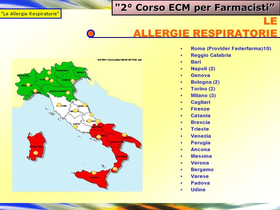 LE ALLERGIE RESPIRATORIE Roma (Provider Federfarma)10) Reggio Calabria Bari Napoli (2) Genova Bologna (2) Torino (2) Milano (3) Cagliari Firenze Catan