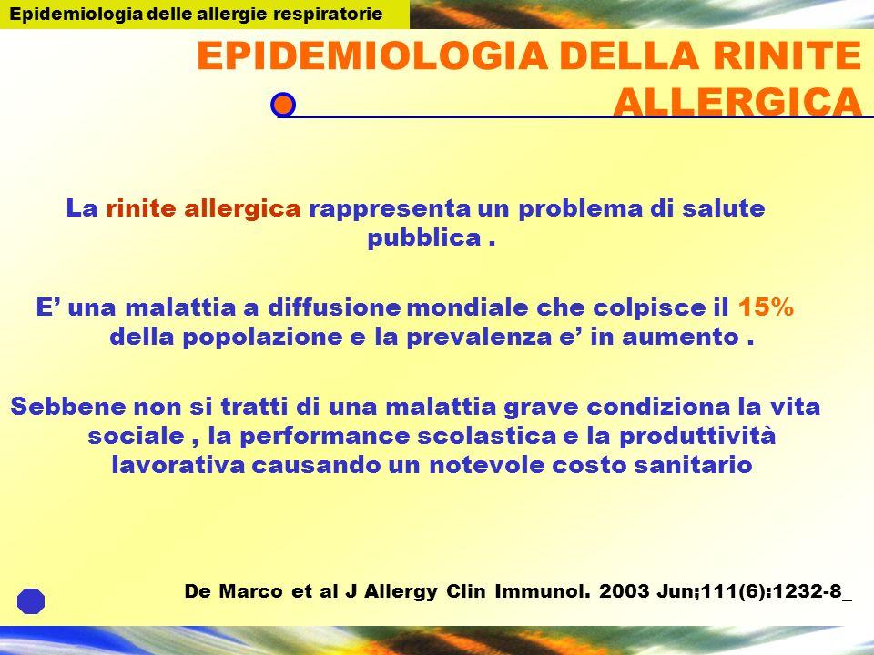 EPIDEMIOLOGIA DELLA RINITE ALLERGICA La rinite allergica rappresenta un problema di salute pubblica. E una malattia a diffusione mondiale che colpisce
