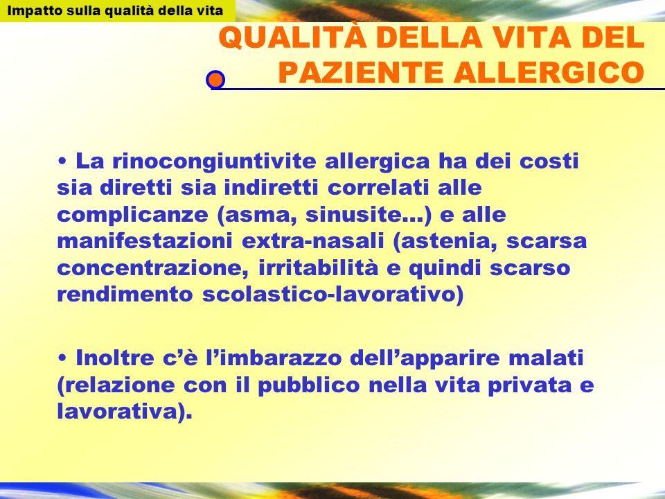 QUALITÀ DELLA VITA DEL PAZIENTE ALLERGICO La rinocongiuntivite allergica ha dei costi sia diretti sia indiretti correlati alle complicanze (asma, sinu