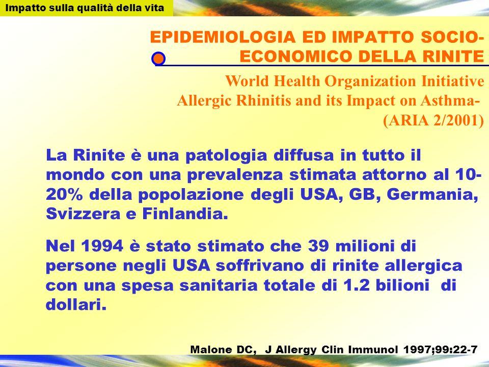 La Rinite è una patologia diffusa in tutto il mondo con una prevalenza stimata attorno al 10- 20% della popolazione degli USA, GB, Germania, Svizzera