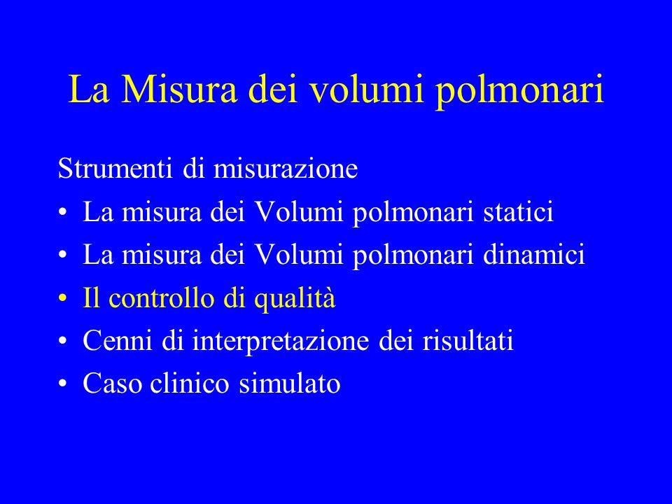 La Misura dei volumi polmonari Strumenti di misurazione La misura dei Volumi polmonari statici La misura dei Volumi polmonari dinamici Il controllo di