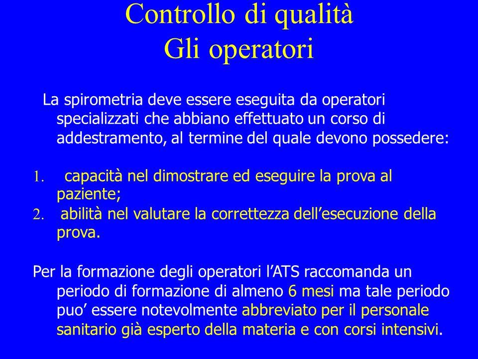 Controllo di qualità Gli operatori La spirometria deve essere eseguita da operatori specializzati che abbiano effettuato un corso di addestramento, al