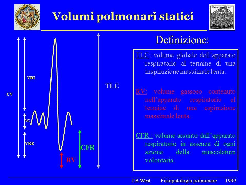 Volumi polmonari statici Definizione: TLC: volume globale dellapparato respiratorio al termine di una inspirazione massimale lenta. RV: volume gassoso