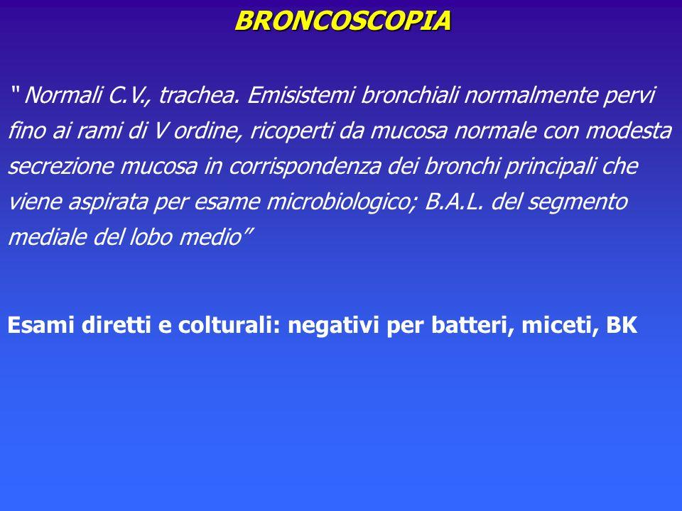 BRONCOSCOPIA Normali C.V., trachea. Emisistemi bronchiali normalmente pervi fino ai rami di V ordine, ricoperti da mucosa normale con modesta secrezio
