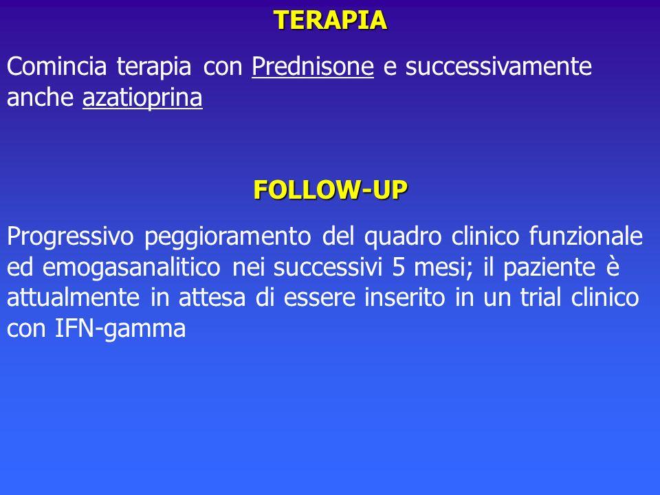 TERAPIA Comincia terapia con Prednisone e successivamente anche azatioprinaFOLLOW-UP Progressivo peggioramento del quadro clinico funzionale ed emogas