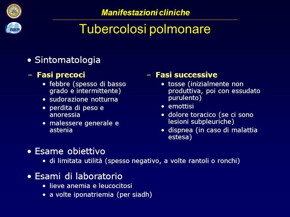 Tubercolosi polmonare –Fasi precoci febbre (spesso di basso grado e intermittente) sudorazione notturna perdita di peso e anoressia malessere generale