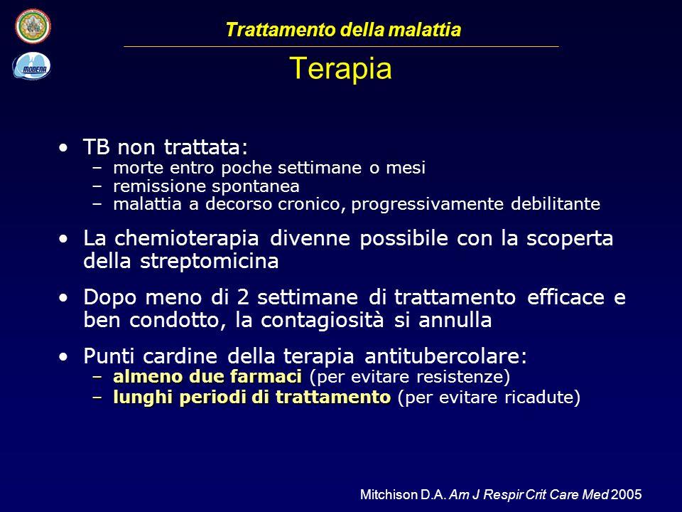 Terapia TB non trattata: –morte entro poche settimane o mesi –remissione spontanea –malattia a decorso cronico, progressivamente debilitante La chemio