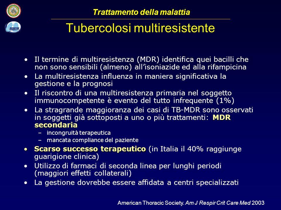 Il termine di multiresistenza (MDR) identifica quei bacilli che non sono sensibili (almeno) allisoniazide ed alla rifampicina La multiresistenza influ