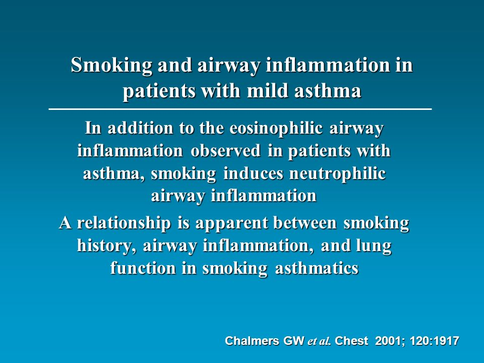 Cigarette Smoking Impairs the Therapeutic Response to Oral Corticosteroids in Chronic Asthma We conclude that active smoking impairs the efficacy of short-term oral corticosteroid treatment in chronic asthma Chaudhuri R al.