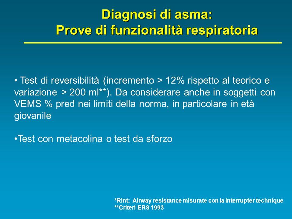 Diagnosi di asma: Prove di funzionalità respiratoria Test di reversibilità (incremento > 12% rispetto al teorico e variazione > 200 ml**). Da consider