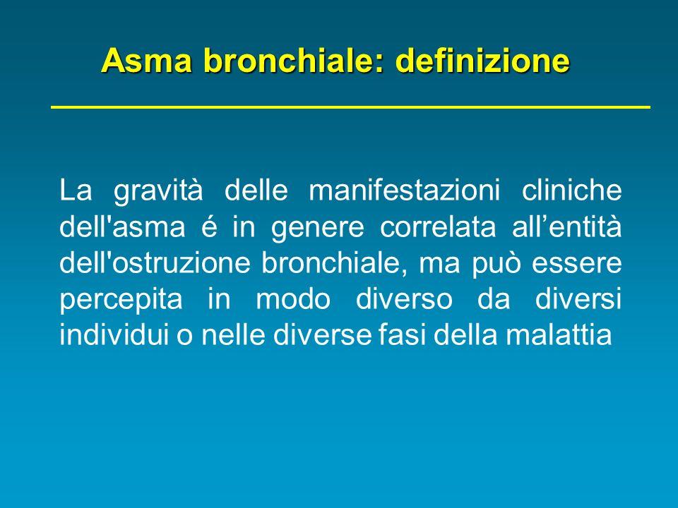 La gravità delle manifestazioni cliniche dell'asma é in genere correlata allentità dell'ostruzione bronchiale, ma può essere percepita in modo diverso