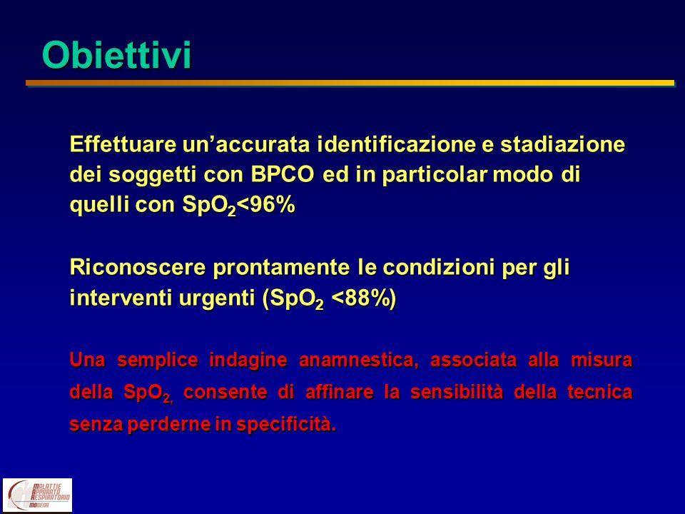 Effettuare unaccurata identificazione e stadiazione dei soggetti con BPCO ed in particolar modo di quelli conSpO 2 <96% Effettuare unaccurata identifi