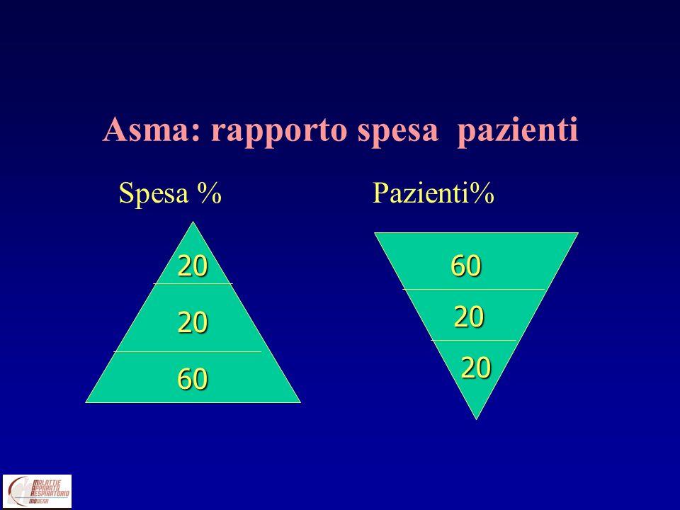 Asma: rapporto spesa pazienti Spesa % Pazienti% 20 20 60 60 60 20 20 20