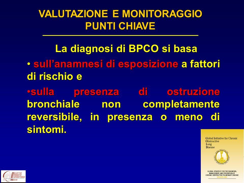 La diagnosi di BPCO si basa La diagnosi di BPCO si basa sullanamnesi di esposizione a fattori di rischio e sullanamnesi di esposizione a fattori di ri