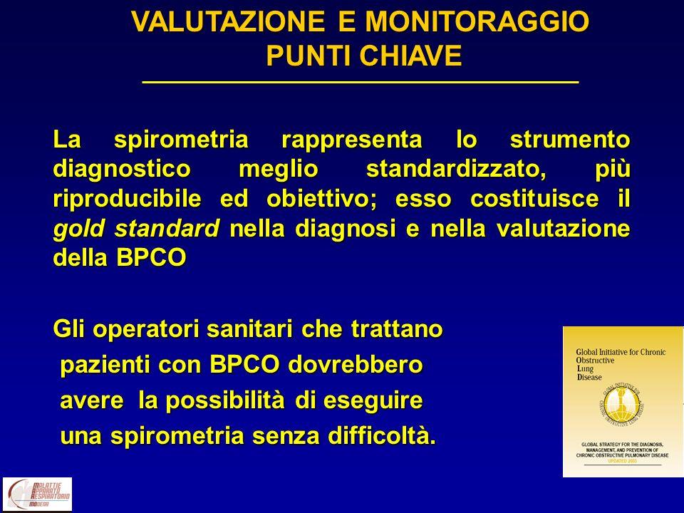 La spirometria rappresenta lo strumento diagnostico meglio standardizzato, più riproducibile ed obiettivo; esso costituisce il gold standard nella dia