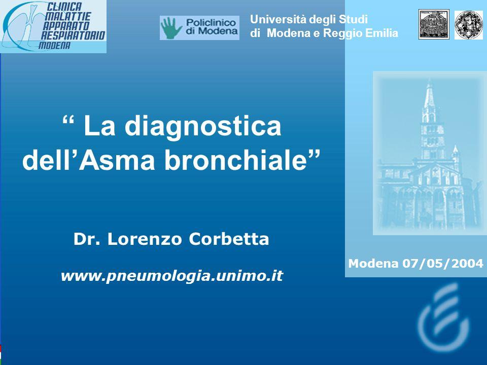 La diagnostica dellAsma bronchiale Dr. Lorenzo Corbetta www.pneumologia.unimo.it Università degli Studi di Modena e Reggio Emilia Modena 07/05/2004