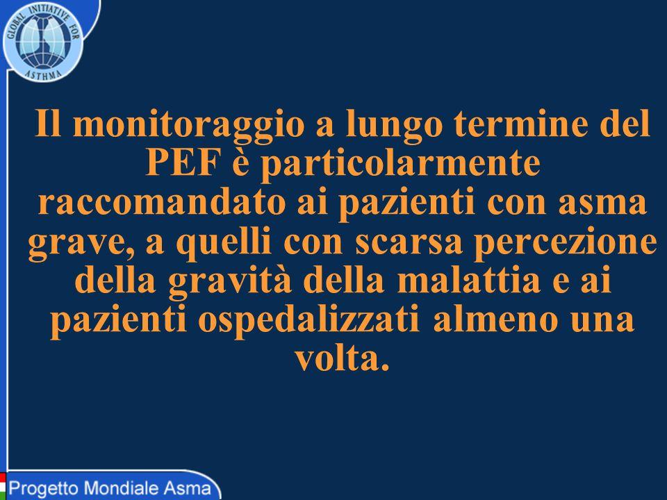 Il monitoraggio a lungo termine del PEF è particolarmente raccomandato ai pazienti con asma grave, a quelli con scarsa percezione della gravità della