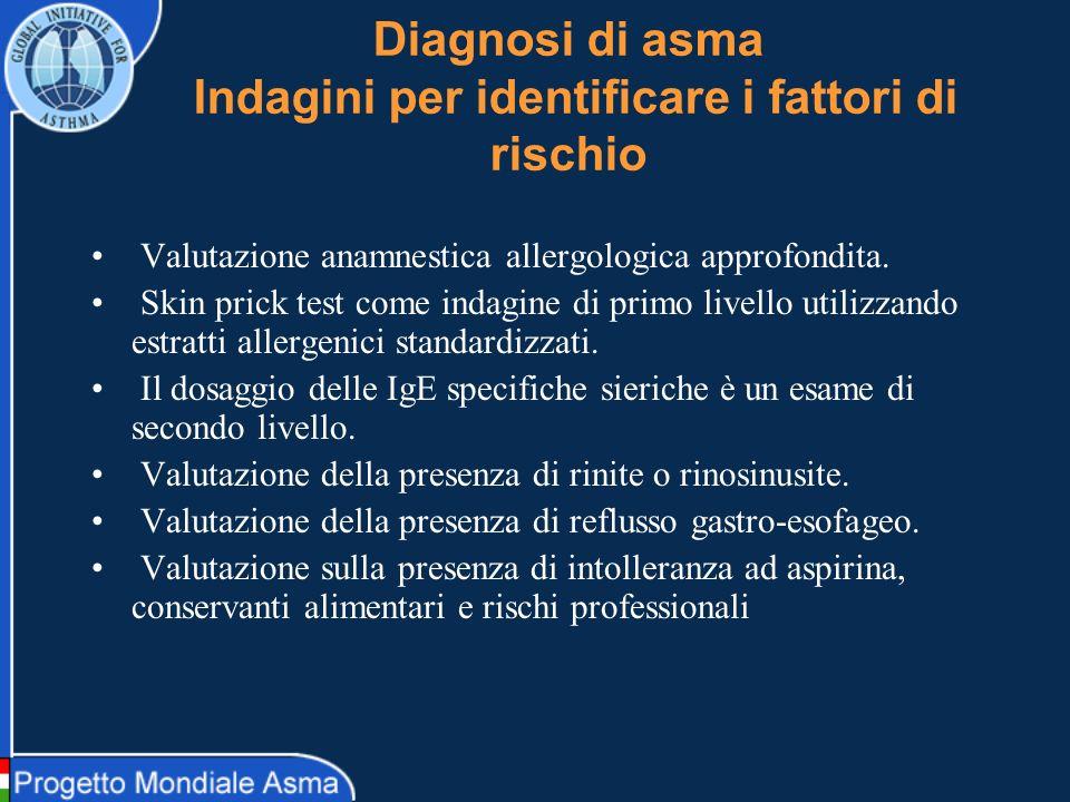 Diagnosi di asma Indagini per identificare i fattori di rischio Valutazione anamnestica allergologica approfondita. Skin prick test come indagine di p