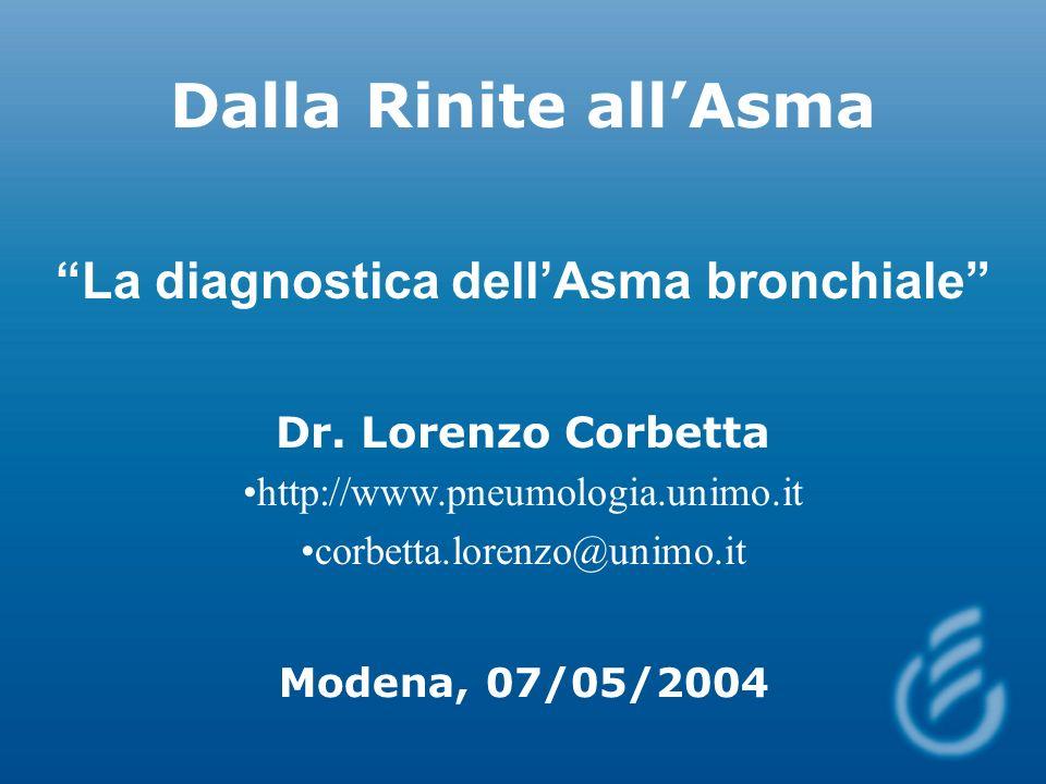 Dalla Rinite allAsma La diagnostica dellAsma bronchiale Dr. Lorenzo Corbetta http://www.pneumologia.unimo.it corbetta.lorenzo@unimo.it Modena, 07/05/2