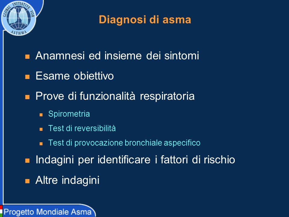 Diagnosi di asma: Prove di funzionalità respiratoria Spirometria (possibile anche nel 50-80% dei bambini con età 3-5 aa, in alternativa RINT e oscillometria) Test di reversibilità (incremento > 12% rispetto al basale e, nelladulto, > 200 ml).