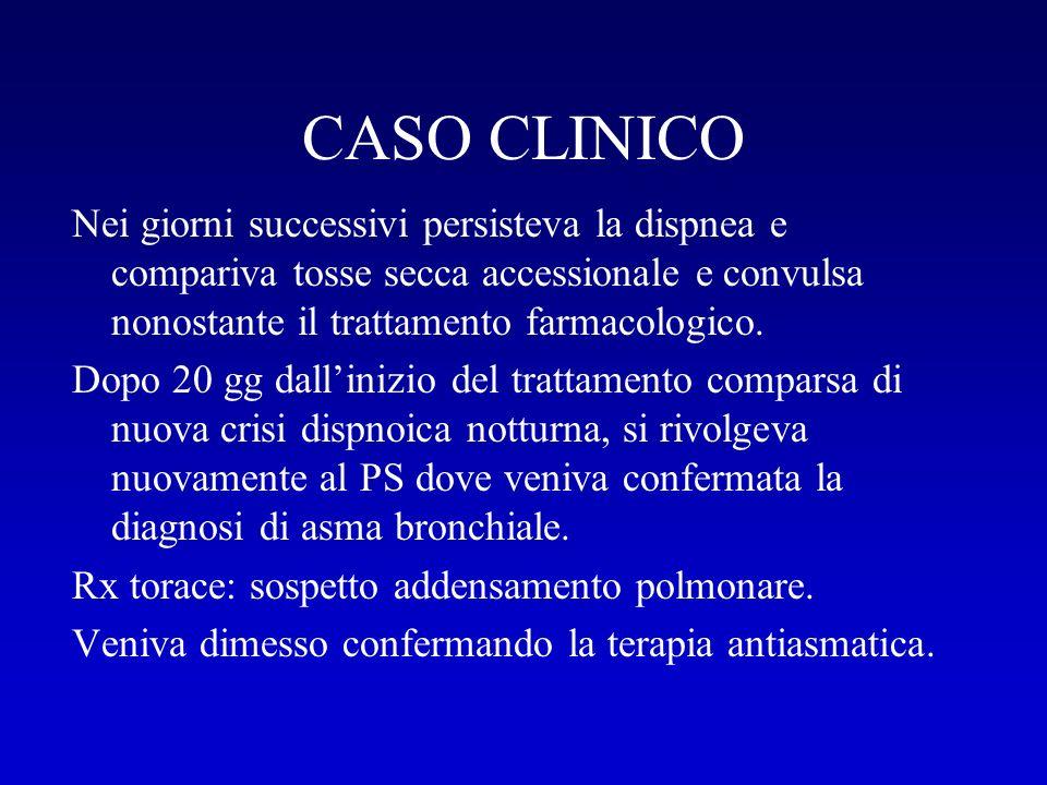 CASO CLINICO Data la persistenza della tosse e della dispnea il medico curante ha richiesto una consulenza pneumologica.