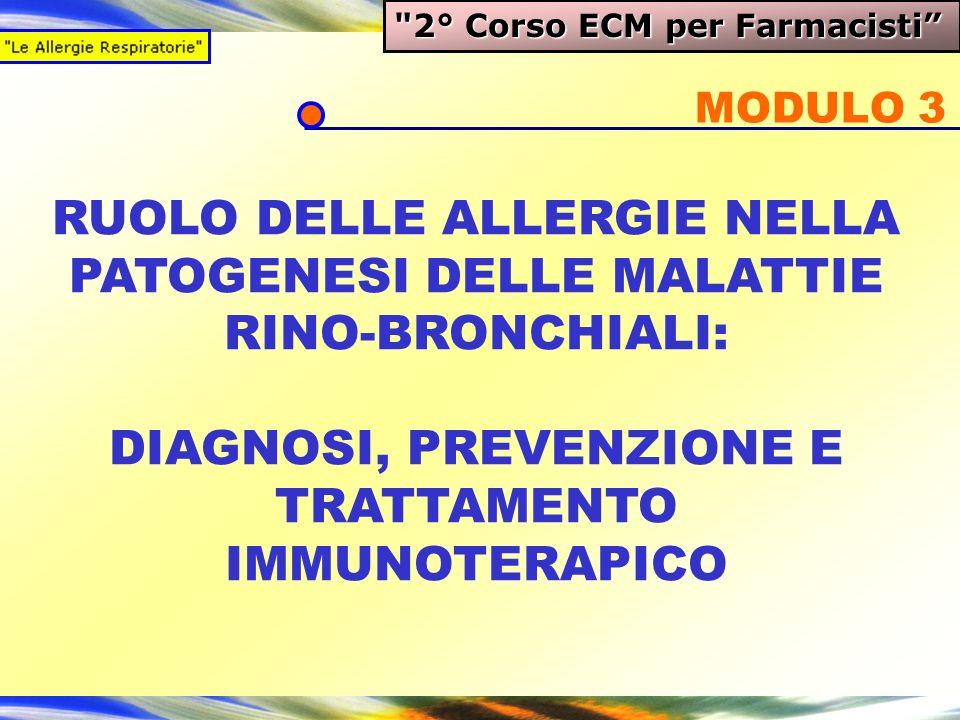 RUOLO DELLE ALLERGIE NELLA PATOGENESI DELLE MALATTIE RINO-BRONCHIALI: DIAGNOSI, PREVENZIONE E TRATTAMENTO IMMUNOTERAPICO MODULO 3