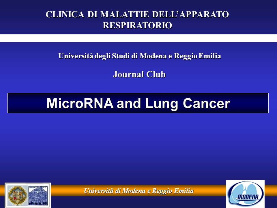 Università di Modena e Reggio Emilia MicroRNA and Lung Cancer CLINICA DI MALATTIE DELLAPPARATO RESPIRATORIO Università degli Studi di Modena e Reggio