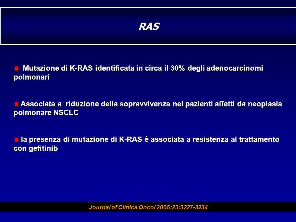 Mutazione di K-RAS identificata in circa il 30% degli adenocarcinomi polmonari Mutazione di K-RAS identificata in circa il 30% degli adenocarcinomi po