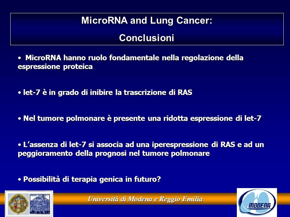 Università di Modena e Reggio Emilia MicroRNA and Lung Cancer: Conclusioni MicroRNA hanno ruolo fondamentale nella regolazione della espressione prote