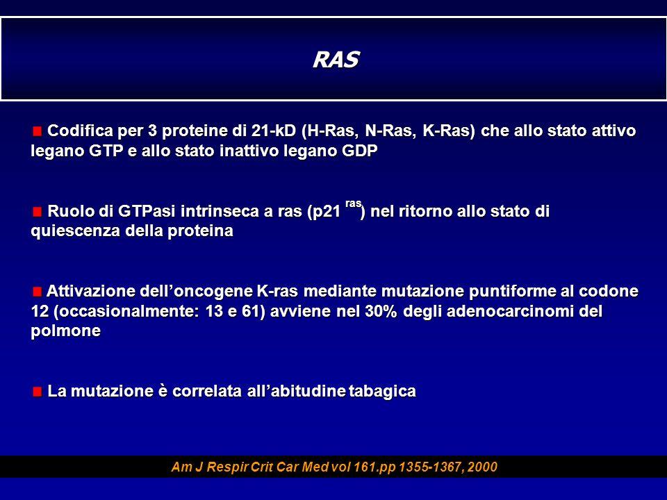 Codifica per 3 proteine di 21-kD (H-Ras, N-Ras, K-Ras) che allo stato attivo legano GTP e allo stato inattivo legano GDP Codifica per 3 proteine di 21