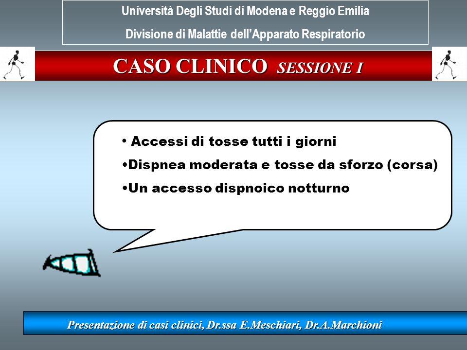 CASO CLINICO SESSIONE I Presentazione di casi clinici, Dr.ssa E.Meschiari, Dr.A.Marchioni Accessi di tosse tutti i giorni Dispnea moderata e tosse da