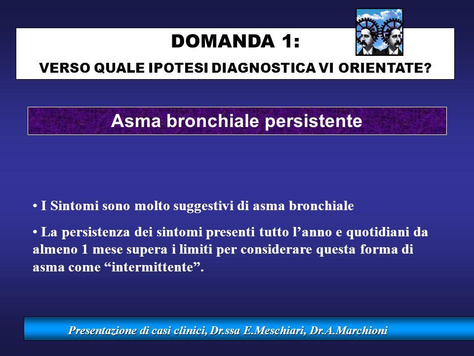 Presentazione di casi clinici, Dr.ssa E.Meschiari, Dr.A.Marchioni Asma bronchiale persistente I Sintomi sono molto suggestivi di asma bronchiale La pe