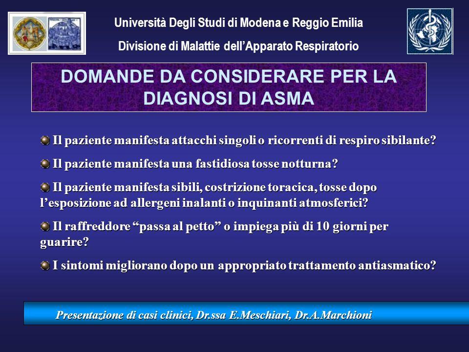 Presentazione di casi clinici, Dr.ssa E.Meschiari, Dr.A.Marchioni Il paziente manifesta attacchi singoli o ricorrenti di respiro sibilante? Il pazient