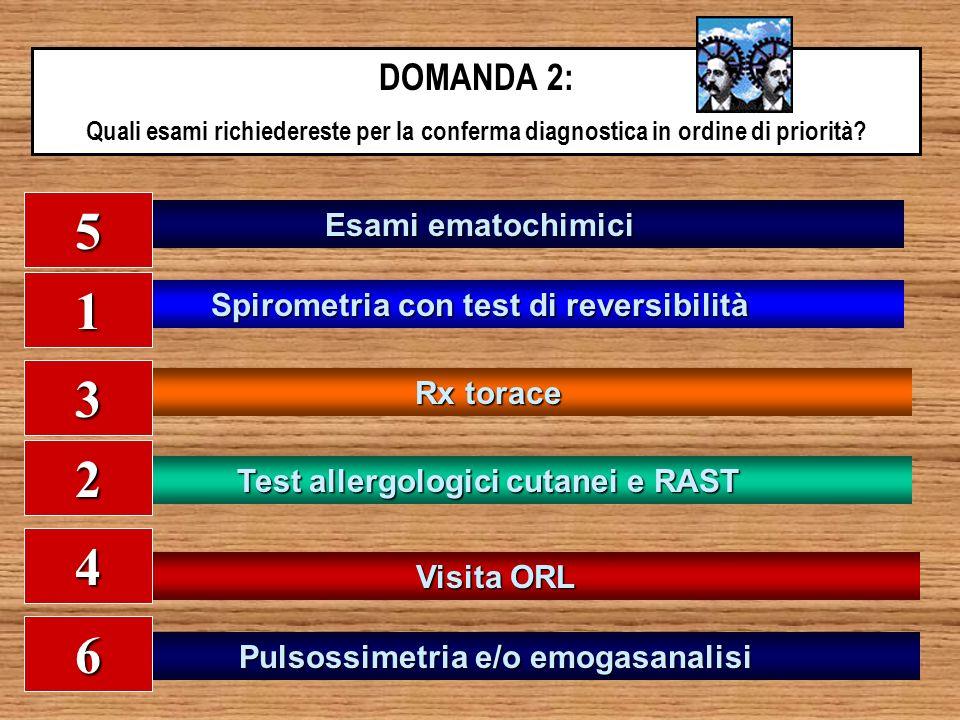 DOMANDA 2: Quali esami richiedereste per la conferma diagnostica in ordine di priorità? Esami ematochimici Spirometria con test di reversibilità Rx to