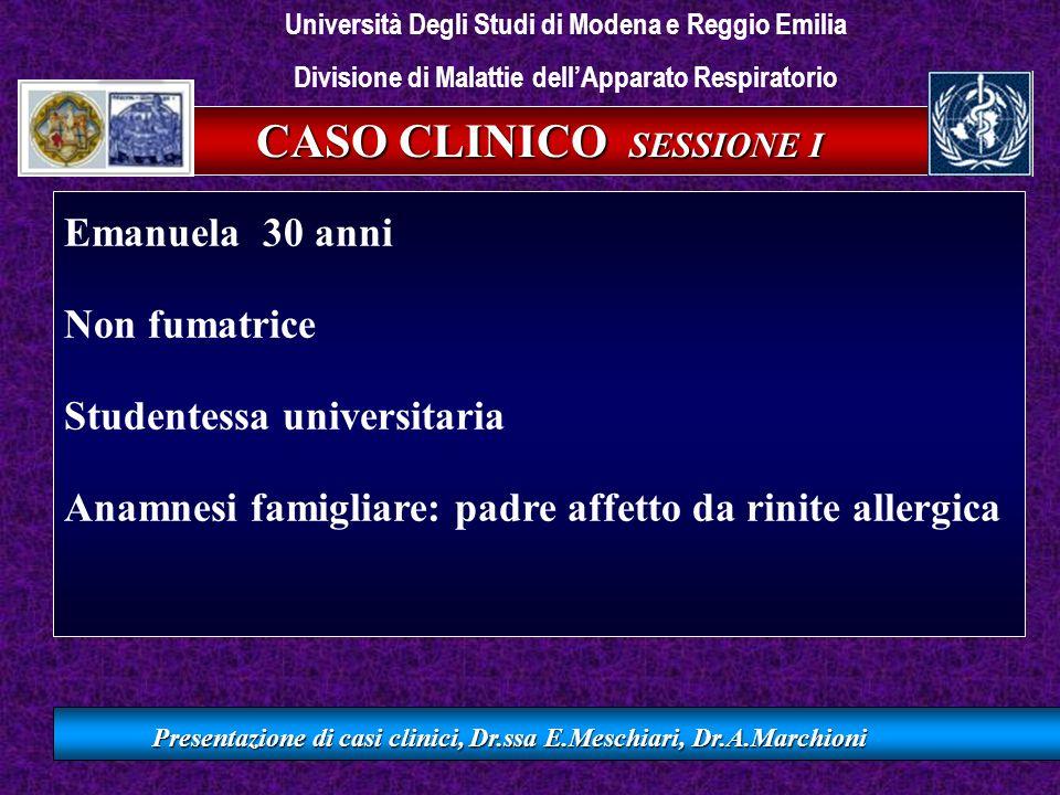 CASO CLINICO SESSIONE I Presentazione di casi clinici, Dr.ssa E.Meschiari, Dr.A.Marchioni La paziente si rivolge al medico di medicina generale per persistenza di sintomi respiratori da circa un mese QUALI SONO I SINTOMI CHE HA ACCUSATO.