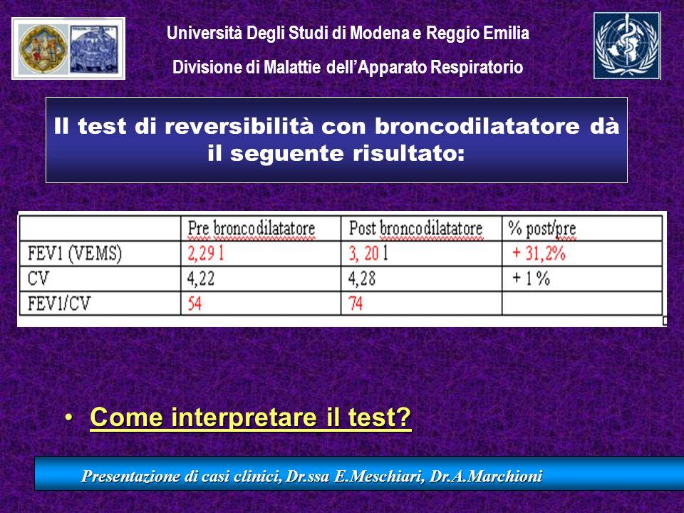Il test di reversibilità con broncodilatatore dà il seguente risultato: Come interpretare il test?Come interpretare il test? Presentazione di casi cli