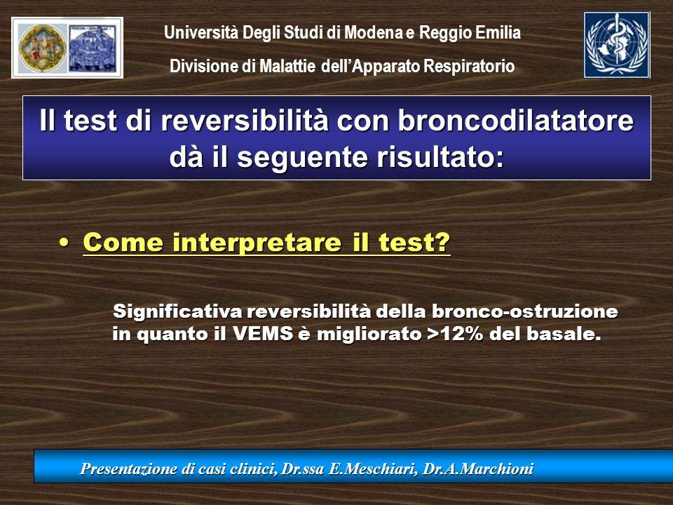 Il test di reversibilità con broncodilatatore dà il seguente risultato: Come interpretare il test?Come interpretare il test? Significativa reversibili