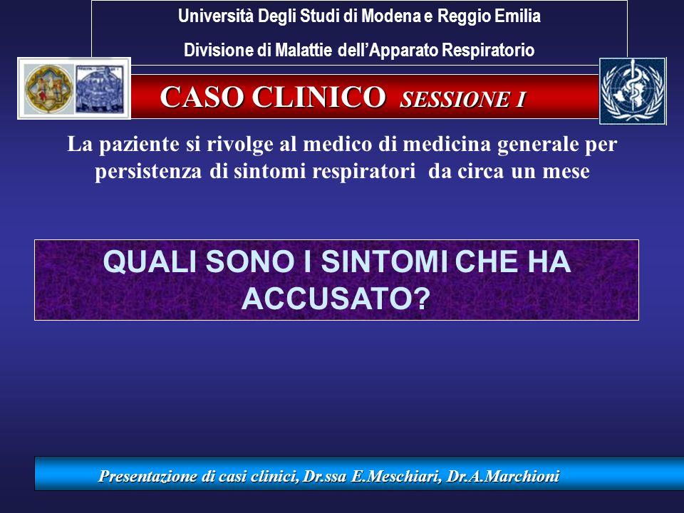 Valutazione PEF Università Degli Studi di Modena e Reggio Emilia Divisione di Malattie dellApparato Respiratorio Presentazione di casi clinici, Dr.ssa E.Meschiari, Dr.A.Marchioni