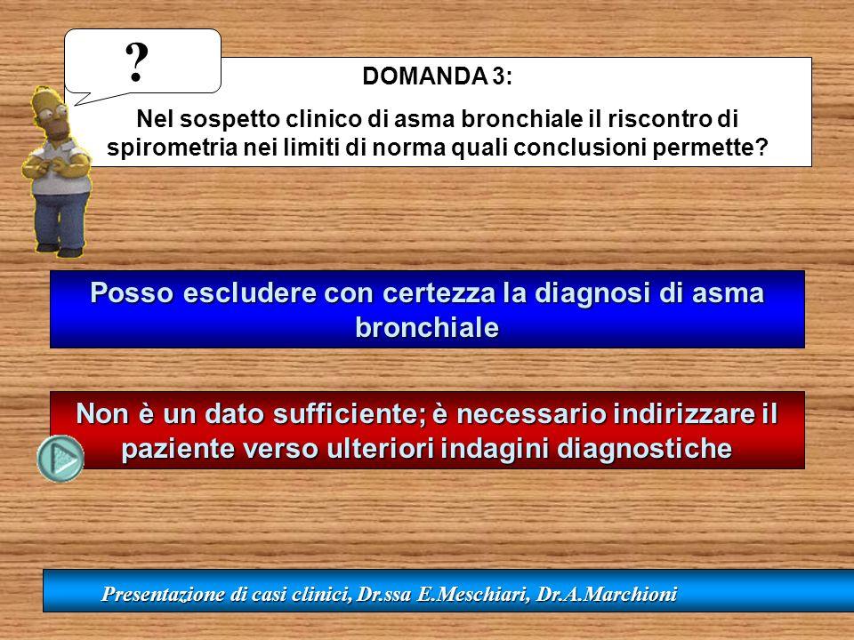 DOMANDA 3: Nel sospetto clinico di asma bronchiale il riscontro di spirometria nei limiti di norma quali conclusioni permette? Posso escludere con cer