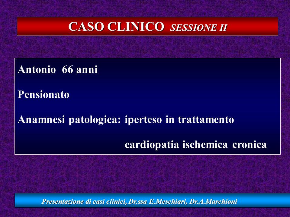CASO CLINICO SESSIONE II Presentazione di casi clinici, Dr.ssa E.Meschiari, Dr.A.Marchioni Antonio 66 anni Pensionato Anamnesi patologica: iperteso in