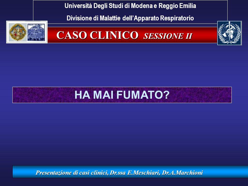 CASO CLINICO SESSIONE II Presentazione di casi clinici, Dr.ssa E.Meschiari, Dr.A.Marchioni HA MAI FUMATO? Università Degli Studi di Modena e Reggio Em
