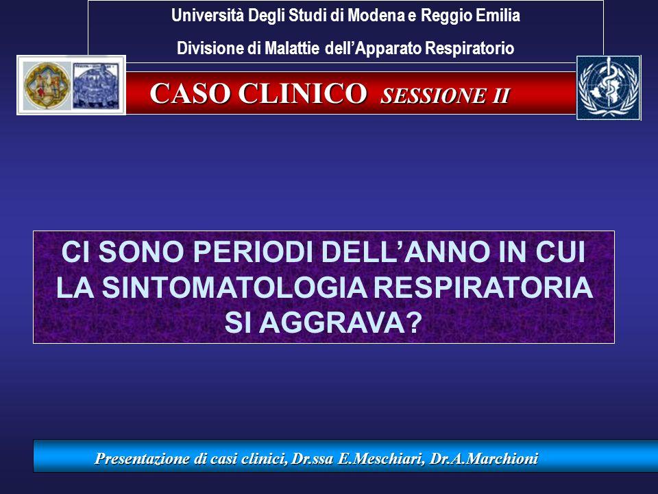 CASO CLINICO SESSIONE II Presentazione di casi clinici, Dr.ssa E.Meschiari, Dr.A.Marchioni CI SONO PERIODI DELLANNO IN CUI LA SINTOMATOLOGIA RESPIRATO