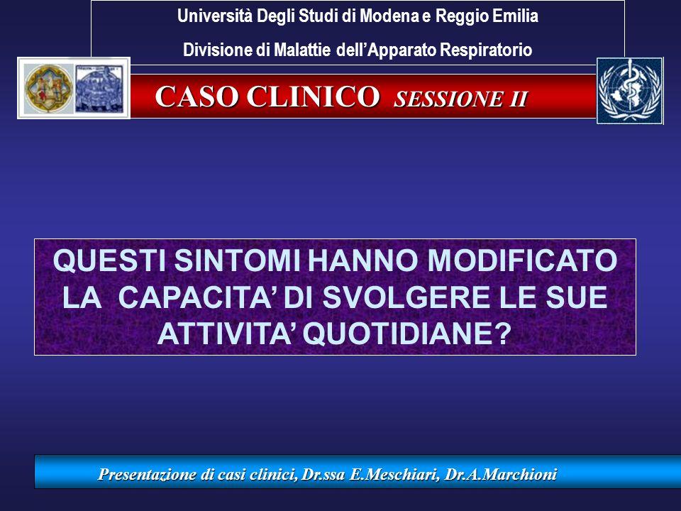 CASO CLINICO SESSIONE II Presentazione di casi clinici, Dr.ssa E.Meschiari, Dr.A.Marchioni QUESTI SINTOMI HANNO MODIFICATO LA CAPACITA DI SVOLGERE LE