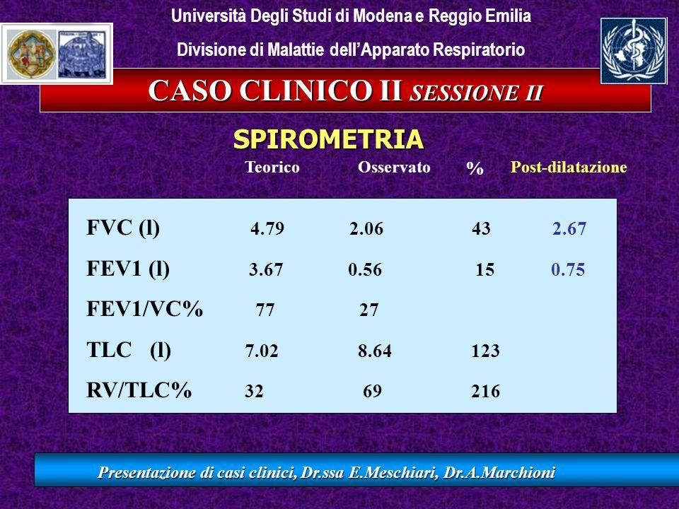 CASO CLINICO II SESSIONE II Presentazione di casi clinici, Dr.ssa E.Meschiari, Dr.A.Marchioni FVC (l) 4.79 2.06 43 2.67 FEV1 (l) 3.67 0.56 15 0.75 FEV