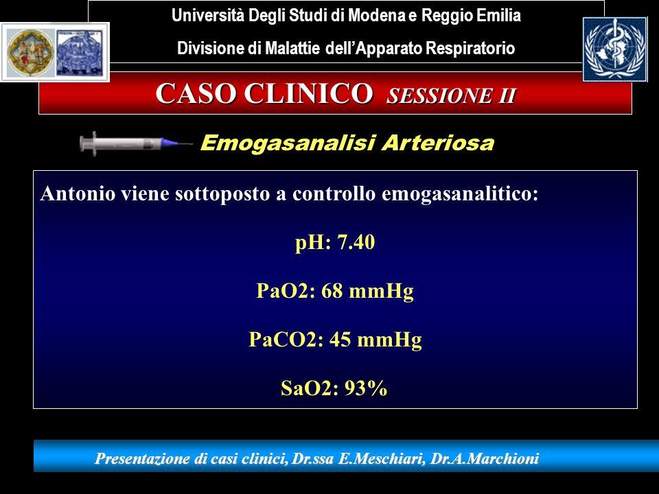 CASO CLINICO SESSIONE II Presentazione di casi clinici, Dr.ssa E.Meschiari, Dr.A.Marchioni Antonio viene sottoposto a controllo emogasanalitico: pH: 7