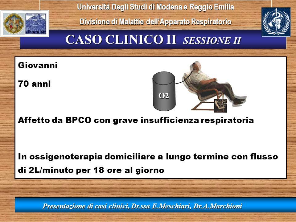 CASO CLINICO II SESSIONE II Presentazione di casi clinici, Dr.ssa E.Meschiari, Dr.A.Marchioni Giovanni 70 anni Affetto da BPCO con grave insufficienza