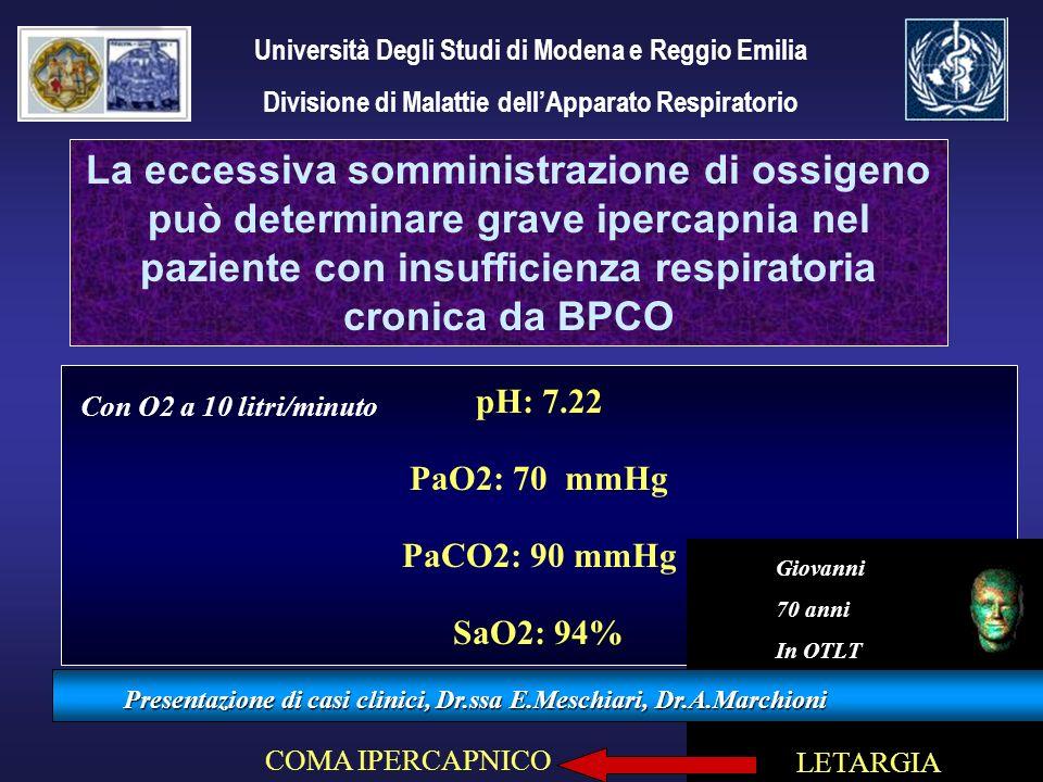 pH: 7.22 PaO2: 70 mmHg PaCO2: 90 mmHg SaO2: 94% Presentazione di casi clinici, Dr.ssa E.Meschiari, Dr.A.Marchioni La eccessiva somministrazione di oss