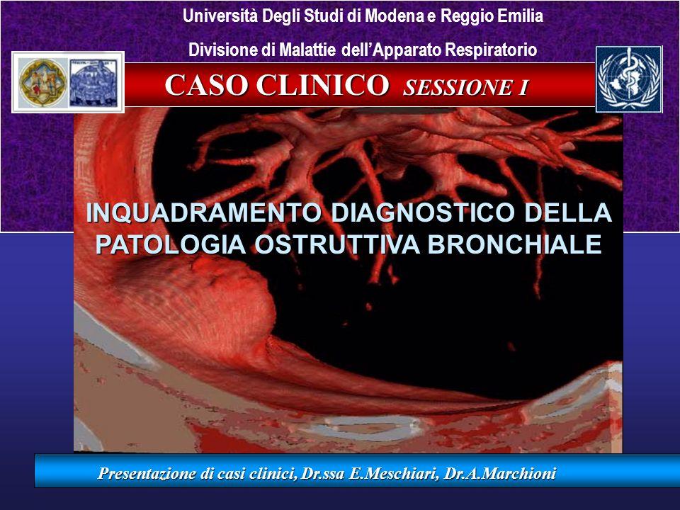 CASO CLINICO SESSIONE I INQUADRAMENTO DIAGNOSTICO DELLA PATOLOGIA OSTRUTTIVA BRONCHIALE Presentazione di casi clinici, Dr.ssa E.Meschiari, Dr.A.Marchi