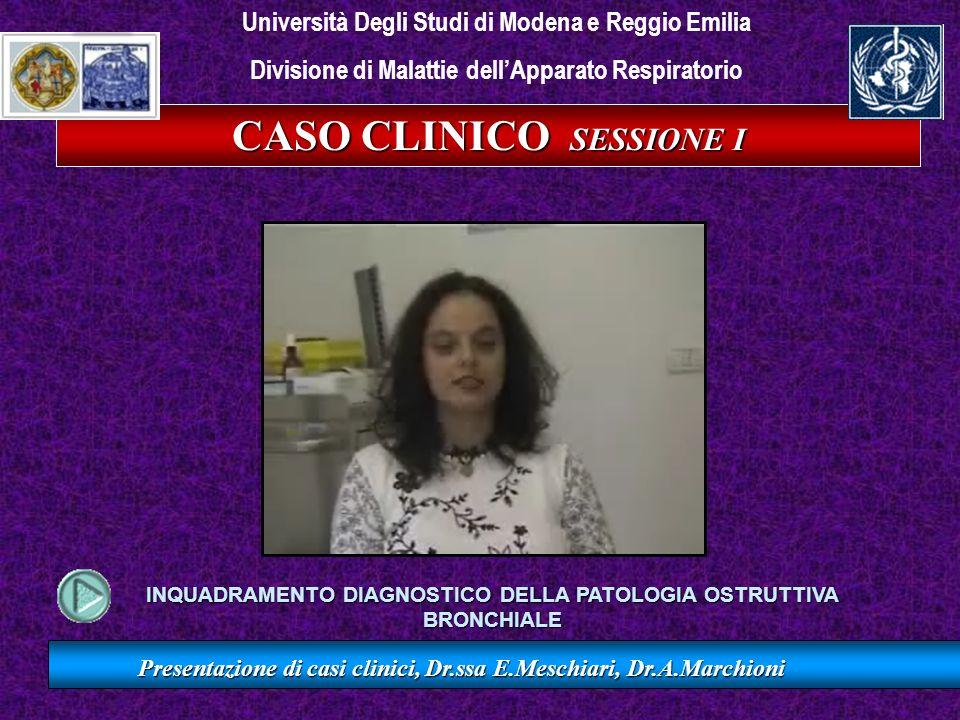 CASO CLINICO II SESSIONE I Presentazione di casi clinici, Dr.ssa E.Meschiari, Dr.A.Marchioni VC (l) 5.41 5.06 107 FEV1 (l) 4.30 3.97 108 FEV1/VC% 79.46 79.87 99 OsservatoTeorico % SPIROMETRIA Nei limiti di norma